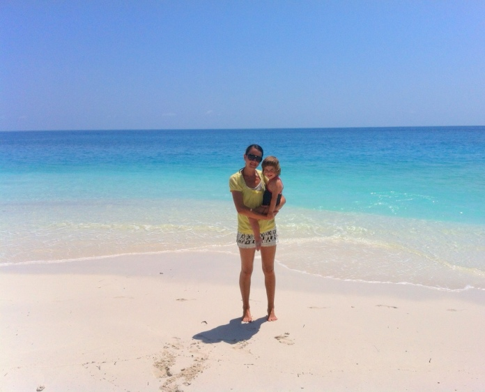Mila and I on the resort island we live on