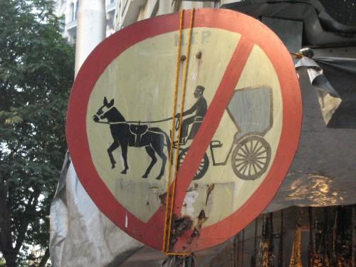 No horses and carts please! At the Colaba markets